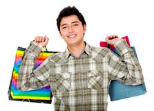 Shopping man smiling Royalty Free Stock Photos