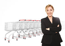 Shopping mania. Smiling woman and 3d trolley background Stock Photography