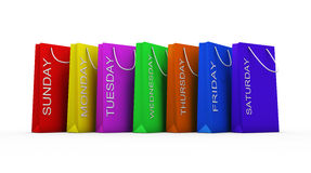 Shopping mania , clipping path included. Seven color of shopping bag with clipping path Stock Photo