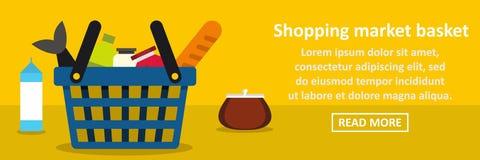 Shopping market basket banner horizontal concept. Flat illustration of shopping market basket banner horizontal vector concept for web Stock Image