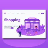 Shopping Market- flat style vector illustration landing page for web stock illustration