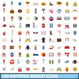100 shopping market icons set, cartoon style. 100 shopping market icons set in cartoon style for any design vector illustration Stock Photos