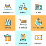 Shopping and market line icons set Royalty Free Stock Photo