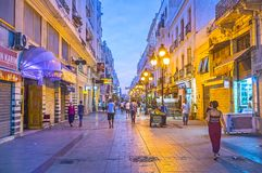 The shopping Marseille street in Tunis Stock Photography