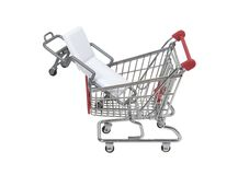 Shopping for medical coverage. Shown by a gurney in a shopping cart - path included Stock Photos