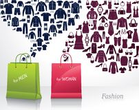Shopping for men and woman. Royalty Free Stock Image