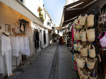 Shopping in Mijas one of the most beautiful 'white' villages of the Southern Spain area called Andalucia. Stock Photo