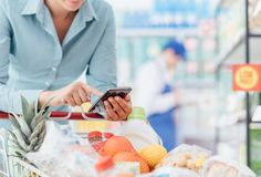 Shopping and mobile apps Stock Photos