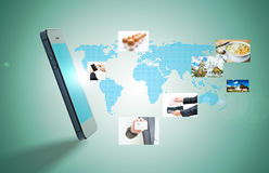 Shopping on mobile. Shopping for world on mobiles network royalty free stock image