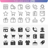 Shopping and money line icon set. Trendy thin line icons for web and mobile. Normal and enable state Royalty Free Stock Images