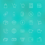 Shopping and Money Line Icons Set over Blurred Background. Shopping and Money Line Icons Set. Vector Set of Purchase and E-commerce Modern Thin Line Icons for Stock Photography