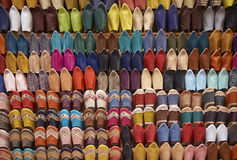 Shopping for Moroccan Slippers Royalty Free Stock Image