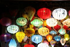 Lantern shop at Hoi An lantern festival in November 2018. Shopping for the most beautiful lantern royalty free stock photo