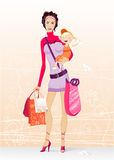 Shopping mother. Young mother holding her daughter and bags after shopping Stock Photography