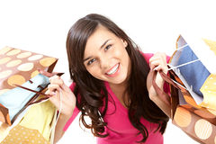 Shopping much. Portrait of modern shopper looking at camera with smile stock photos