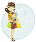 Shopping mum and baby vector illustration