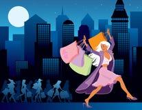 Shopping at night Royalty Free Stock Images