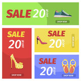 Shopping Night with Big Sale in Shoes Store Poster Stock Images