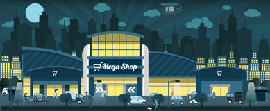Shopping in the night city. Vector illustration of shopping in the night city Royalty Free Stock Photos