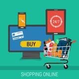 Shopping och betalning för fyrkantigt baner online- royaltyfri illustrationer