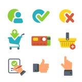 Shopping och E-kommers för website- eller mobilapplikation Symboler som isoleras på wihite stock illustrationer