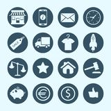 Shopping- och e-kommers symboler Arkivfoton