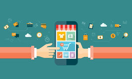 Shopping och e-marknadsföring för vektoraffär mobil online- Fotografering för Bildbyråer