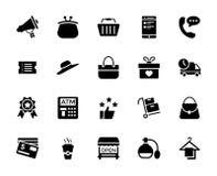 Shopping och kommerssymbolsuppsättning stock illustrationer