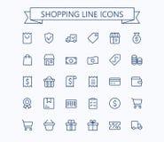 Shopping och uppsättning för E-kommers vektorminisymboler Tunn linje raster för översikt 24x24 Perfekt PIXEL royaltyfri illustrationer