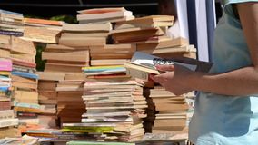 Shopping Old Books stock footage