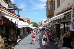 Shopping in Old Town Rhodes Royalty Free Stock Images