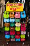 Shopping on Olvera Street. Color display of guitars on sale at Olvera Street flea market Royalty Free Stock Photos