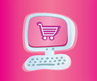 Shopping online. Stylish computer with shopping cart. Vector Illustration Stock Photo
