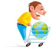Shopping online. Isolated illulstration of man  shopping online Stock Photography