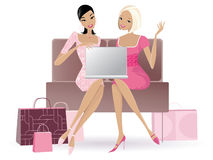 Shopping online. Vector illustration of two women using a laptop for online shopping royalty free illustration