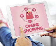 Shopping Online Buy Sale Shopahoslics Concept. Shopaholic Online Shopping Buying Concept Stock Photography
