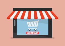 Shopping Online By Tablet Stock Photos