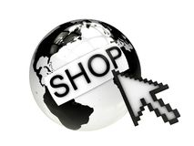 Shopping online concept with earth and cursor Royalty Free Stock Photos