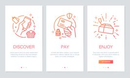 Shopping online concept onboarding app screens. Modern and simplified vector illustration walkthrough screens template for mobile Stock Image