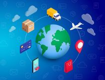 Shopping Online concept Planet stock illustration