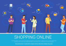 Shopping online concept vector illustration of group of people using mobile smartphone for purchasing goods. Shopping online concept vector illustration of group Stock Photography