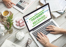 Shopping Online Consumerism Connection Sale Concept. Invoice Payment Received Sale Concept Stock Image