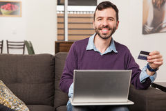 Shopping online with a credit card Stock Photography