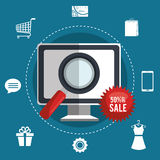 Shopping online and digital marketing Royalty Free Stock Images