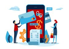 Shopping online. Digital payment with smartphone. Paid by credit card. Shopping on mobile. Flat cartoon miniature. Business illustration vector graphic on royalty free illustration