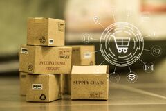 Shopping online, e-commerce concept: cardboard boxes products in warehouse. depicts of International freight or shipping service