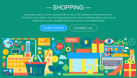 Shopping Online and E-Commerce Shopping concept. Online e commerce infographics template design, web header shopping Royalty Free Stock Photography
