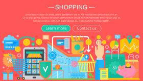 Shopping Online and E-Commerce Shopping concept. Online e commerce infographics template design, web header shopping Royalty Free Stock Image