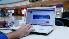 Shopping online on Emirates airlines website. SEP 27, 2016, MOSCOW, RUSSIA: Shopping online on Emirates airlines website. Emirates is the one of biggest stock video footage