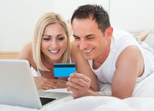 Shopping Online Holding Credit Card Royalty Free Stock Images